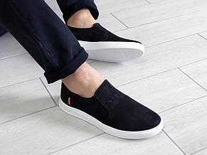 Стильные мужские кожаные мокасины (туфли) Levis,черные, фото 3