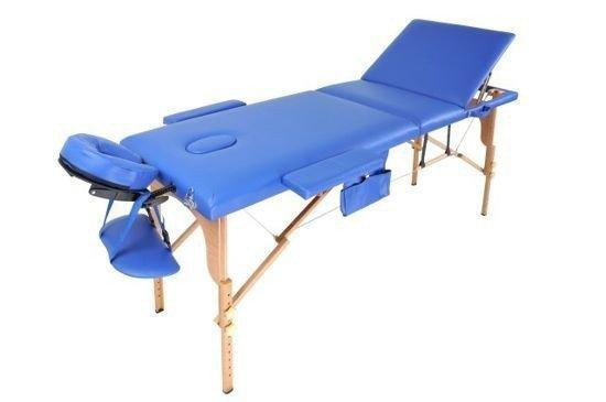 Масажный стол 3 сегмента деревянный o szerokości 70 cm, niebieskie