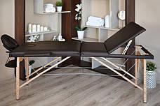 Масажный стол 3 сегмента деревянный o szerokości 70 cm, brązowe, фото 2