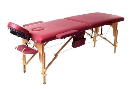 Масажный стол 2 сегмента деревянный, bordowe, фото 2