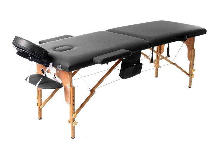 Масажный стол 2 сегмента деревянный, czarne