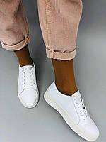 Кеды женские белые из натуральной кожи, фото 1