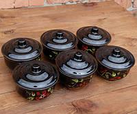 Горшочки для запекания в духовке 6 шт из керамики черные роспись 500 мл