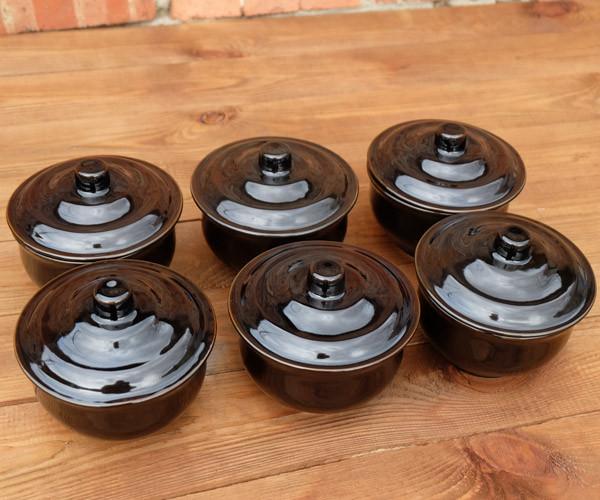 Горшочки для запекания в духовке 6 шт из керамики черные 500 мл