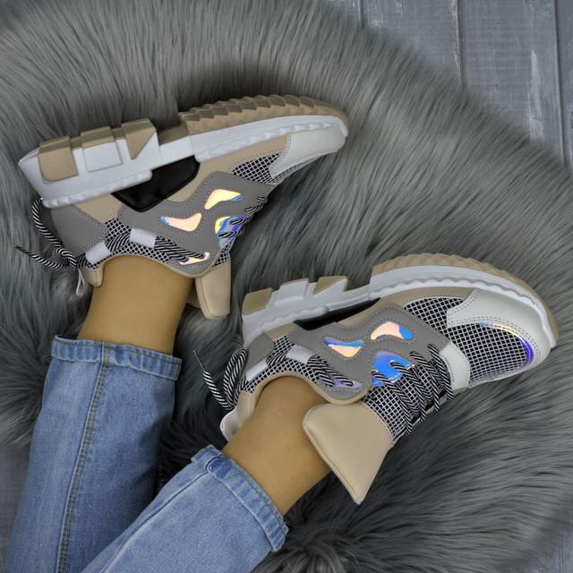Стильні бежеві кросівки з голограмою