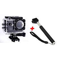 Экшн-камера А7 Sports Full HD 1080 Черная + Монопод