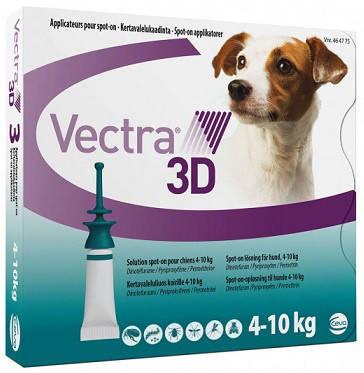 Vectra 3D (Вектра 3D) Капли на холку для от паразитов для собак 4-10 кг, 1 шт, фото 2