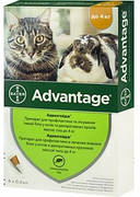 Advantage Bayer 40 Капли от блох  для кошек и котят до 4 кг 4 шт