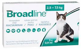 Broadline Краплі на холку від бліх, кліщів і глистів для кішок 2,5-7,5 кг