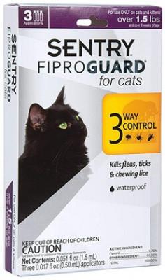Sentry FiproGuard Капли от блох, клещей и вшей для кошек и котят 3х0,5 мл