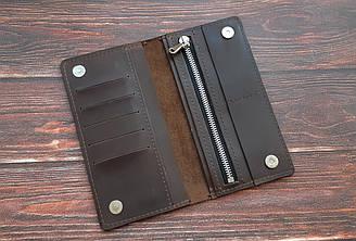 Кошелек мужской кожаный на магнитах, ручная работа, именная гравировка в подарок