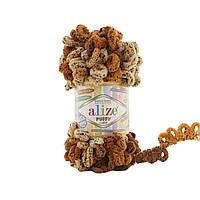 Пряжа с петлями петельками Alize Puffy Color 6080 (Ализе Пуффи Колор Алізе Пуффі)для вязания без спиц руками