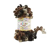 Пряжа с петлями петельками Alize Puffy Color 6083 (Ализе Пуффи Колор Алізе Пуффі)для вязания без спиц руками