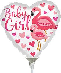 "Фол шар МИНИ-ФИГУРА 9"" (22 см) Сердце Baby Girl розовый фламинго Белый (Анаграм)"