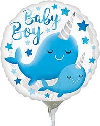 "Фол шар МИНИ-ФИГУРА 9"" (22 см) Круг Baby Boy голубой нарвал Белый (Анаграм)"