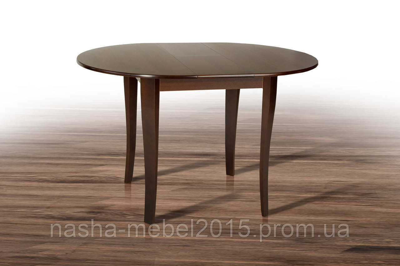 Стол обеденный круглый раскладной Дукат темный орех