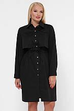 Платье-рубашка черного цвета большого размера