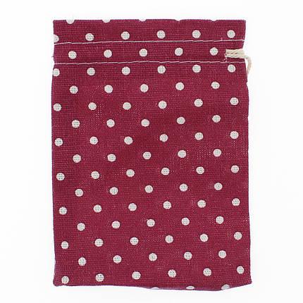 Мешочек подарочный Лён (тканевой) Горох бордовый 10/14 см 50 шт, фото 2