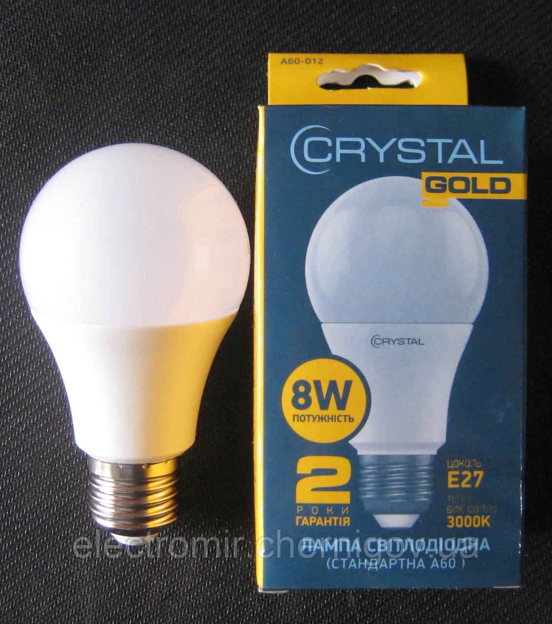 Лампа светодиодная Crystal 8W E27 3000K A60 (сфера стандарт)