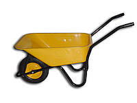Тачка BudMonster будівельна 1-колісна, кузов жовтий 80л, рама чорна, в / п-200кг, колесо пневмо 4х8 (01-006)