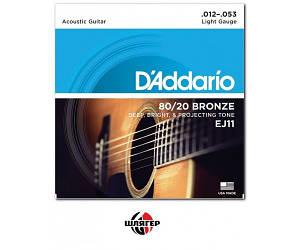 D`ADDARIO EJ11 Bronze 80/20 Extra Light Струны для акустической гитары .012-.053