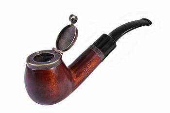 Курительная трубка B&B 1.5 x 3.3 см с металлической крышкой Черная с коричневым