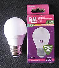 Лампа світлодіодна ELM 6W E27 3000K G45 (сфера)