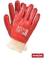 Рукавички REIS RPCVS маслостійкі манжет/ червон. ПВХ облиті /Польща