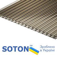 Полікарбонат сотовий SOTON NANO 4мм х 2,1 м х 6м. бронзовий (СПК UV 8H/2)