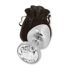 Средняя анальная пробка с прозрачным кристаллом в чехле. 8*3.4 см Металлическая