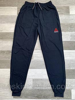 Штаны спортивные мужские хлопок с манжетом Reebok, размеры 46-54, тёмно-синие, СМ 0115/01