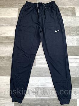 Штаны спортивные мужские хлопок с манжетом Nike, размеры 46-52, тёмно-синие, СМ 0115/02