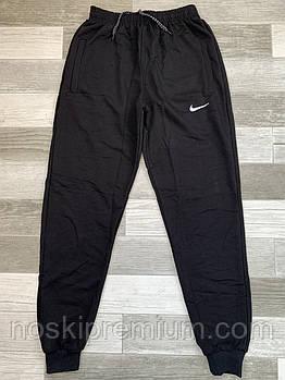 Штаны спортивные мужские хлопок с манжетом Nike, размеры 46-54, чёрные, СМ 0115/03