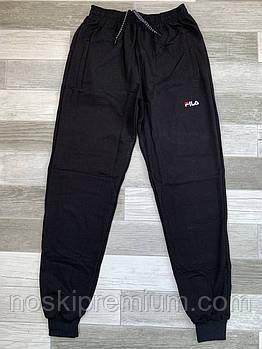 Штаны спортивные мужские хлопок с манжетом Fila, размеры 46-54, чёрные, СМ 0115/04
