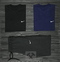 Мужской комплект две футболки + шорты Nike серый синий