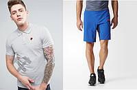 Футболка поло с шортами, Мужской комплект поло и шорты FILA серый и электрик