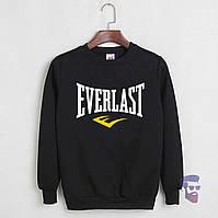 Спортивная кофта Еверласт, Мужская кофта Everlast, черная, трикотажная, реглан, свитшот