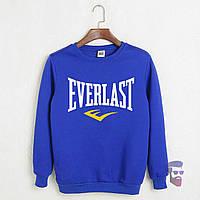 Спортивная кофта Еверласт, Мужская кофта Everlast электрик, светло-синяя, трикотажная, реглан, свитшот
