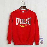 Спортивная кофта Еверласт, Мужская кофта Everlast, красная, трикотажная, реглан, свитшот