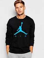 Спортивная кофта Джордан, Мужская кофта Jordan, черная, трикотажная, реглан, свитшот