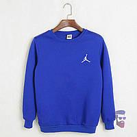 Спортивная кофта Джордан, Мужская кофта Jordan электрик, светло-синяя, трикотажная, реглан, свитшот