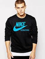 Спортивная кофта Найк, Мужская кофта Nike Internacional, черная, трикотажная, реглан, свитшот