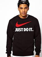 Спортивная кофта Найк, мужская кофта Nike Just Do It, черная, трикотажная, реглан, свитшот