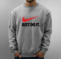 Спортивная кофта Найк, мужская кофта Nike Just Do It, светло серая, меланж, трикотажная, реглан, свитшот