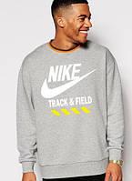Спортивная кофта Найк, мужская кофта Nike Track&Field, светло серая, меланж, трикотажная, реглан, свитшот