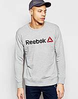 Спортивная кофта Рибок, Мужская кофта Reebok, светло серая, меланж, трикотажная, реглан, свитшот