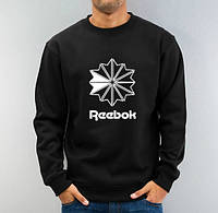 Спортивная кофта Рибок, мужская кофта Reebok, черная, трикотажная, реглан, свитшот