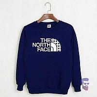 Спортивная кофта Норд Фейс, Мужская кофта The North Face, темно-синяя, трикотажная, реглан, свитшот