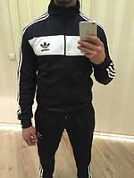 Спортивный костюм Адидас, мужской костюм Adidas, черный костюм, с лампасами, трикотажный