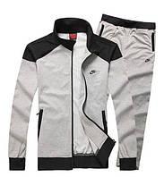 Спортивный костюм Найк, мужской костюм Nike, светло-серый, на змейке, трикотажный